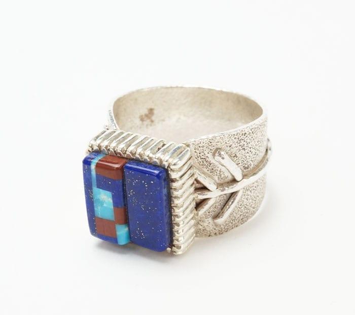 Decontie & Brown inlaid cast silver corn ring