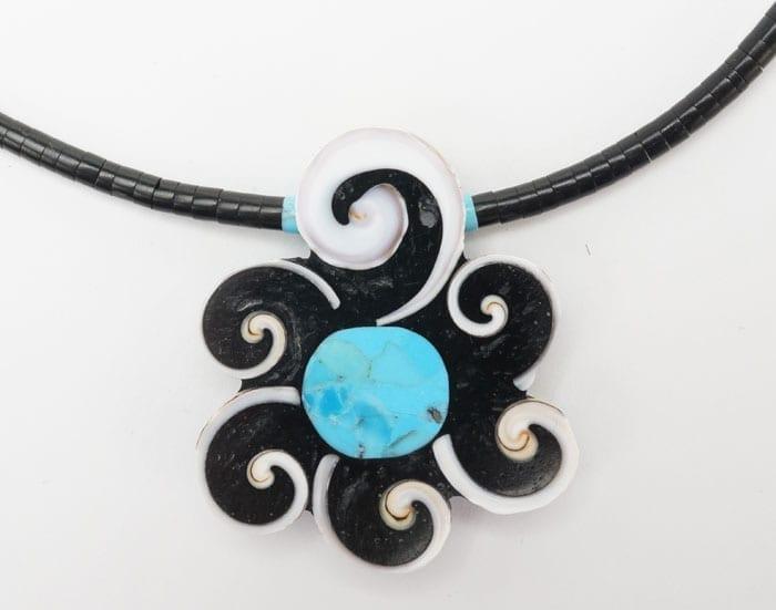 Mary Tafoya Swirl Flower Necklace
