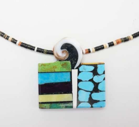 Mary Tafoya side mosaic necklace