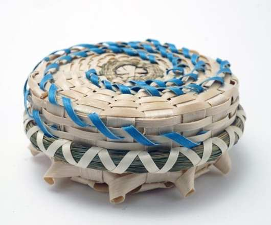 Butch Jacobs blue spiral flat basket