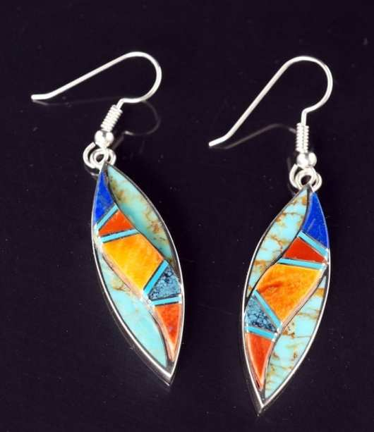 Earl Plummer inlaid two-level earrings