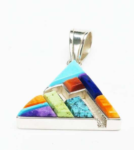 Earl Plummer Raised Multi-material triangular pendant