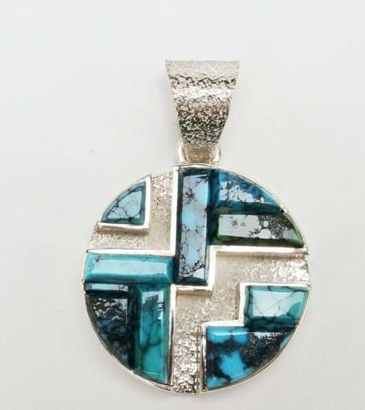 Earl Plummer raised turquoise maze pendant