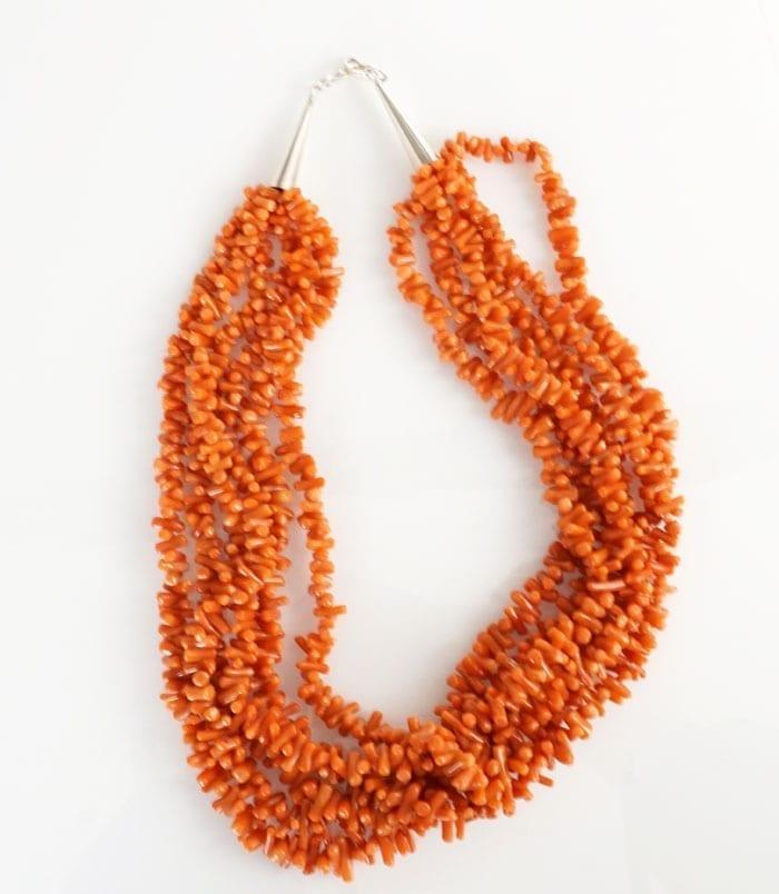 Vintage six strand coral necklace