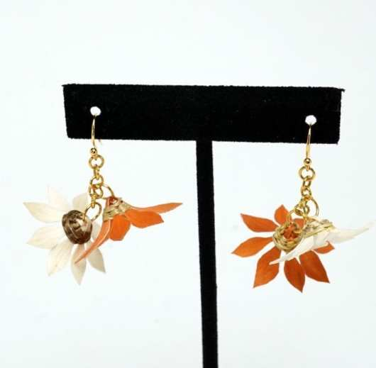Geo Neptune Burnt Orange Flower Basket earrings