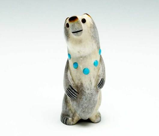 Gabe Sice miniature standing bear turquoise necklace