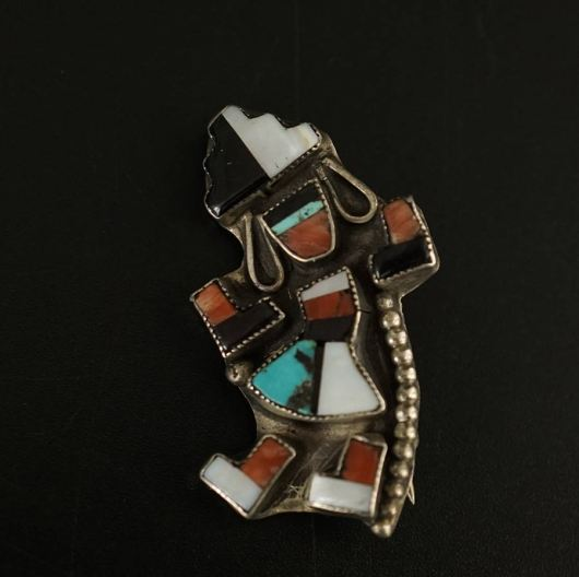 Vintage Silver Zuni Rainbow Dancer Pin 2