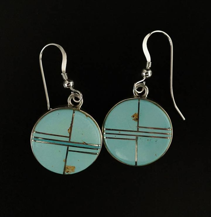 Earl Plummer Sterling Silver Round Candelaria Turquoise Earrings