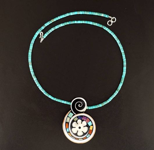 Mary Tafoya Flower Swirl Necklace