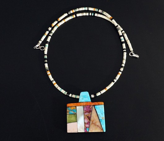 Mary Tafoya Native American Jewelry Santo Domingo Mosaic Necklace 2