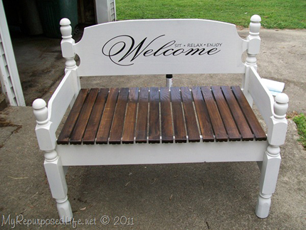 Welcoming Stenciled Bench Home And Garden