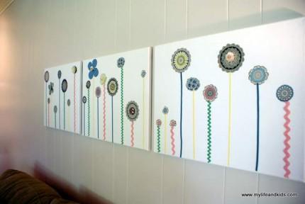 Scrapbook Paper Flower Wall Art Home And Garden