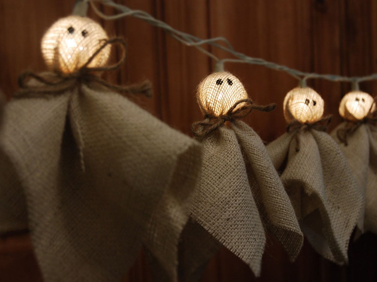 Burlap ghost lights home and garden for Burlap lights