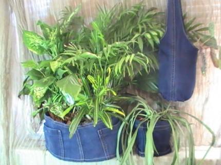 Recycled Denim Sling-Style Plant Hanger