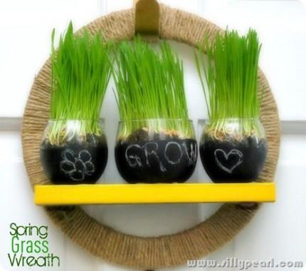 Spring Wheat Grass Wreath