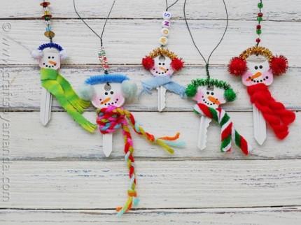 Recycled Key Snowmen