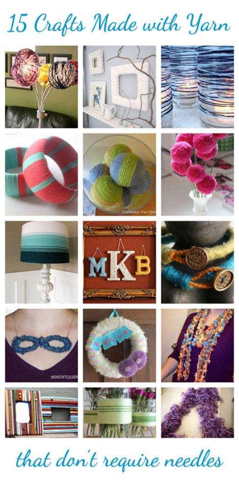 15 Crafts Made with Yarn that don't require needles @craftgossip