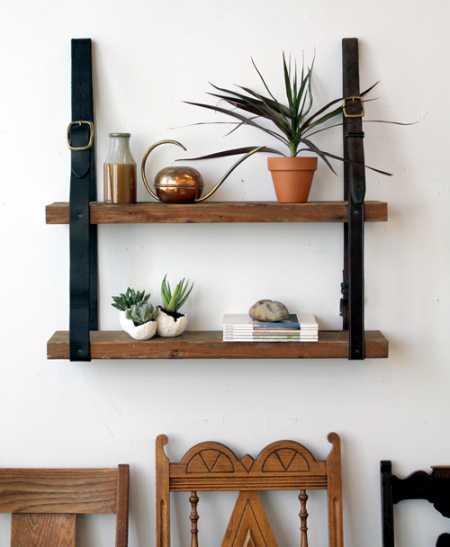 Hanging Leather Shelf