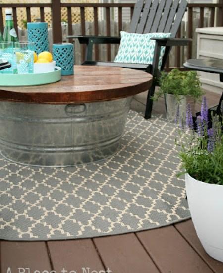 Metal Bucket Outdoor Coffee Table