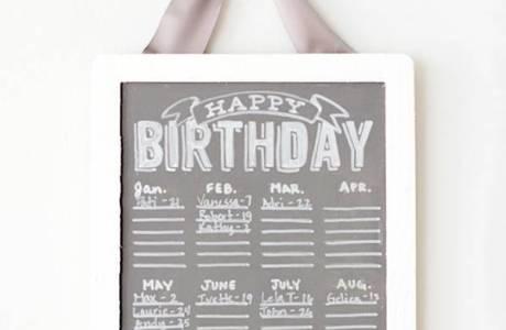 Chalkboard Birthday Calender