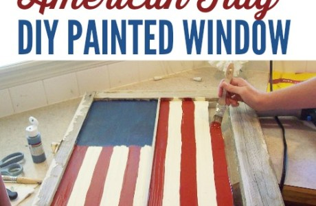 Painted Patriotic Flag Window
