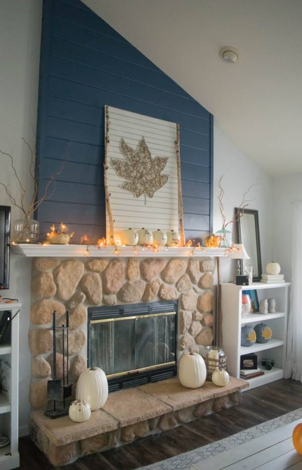 DIY Fall Leaf Light Garland For Your Mantle
