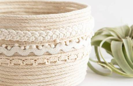 DIY No Sew Rope Planter Basket