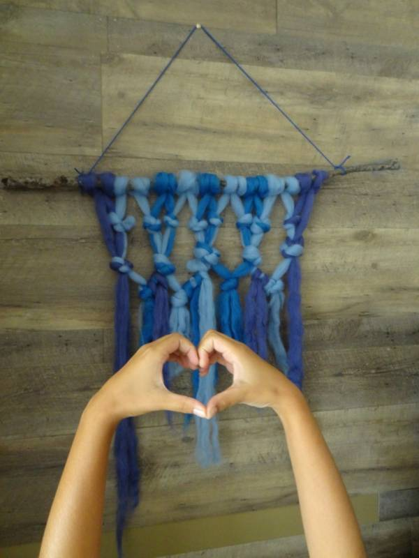 Wool Roving Macrame Hanging