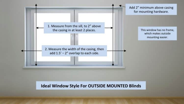 Measuring a window for outside mount blinds