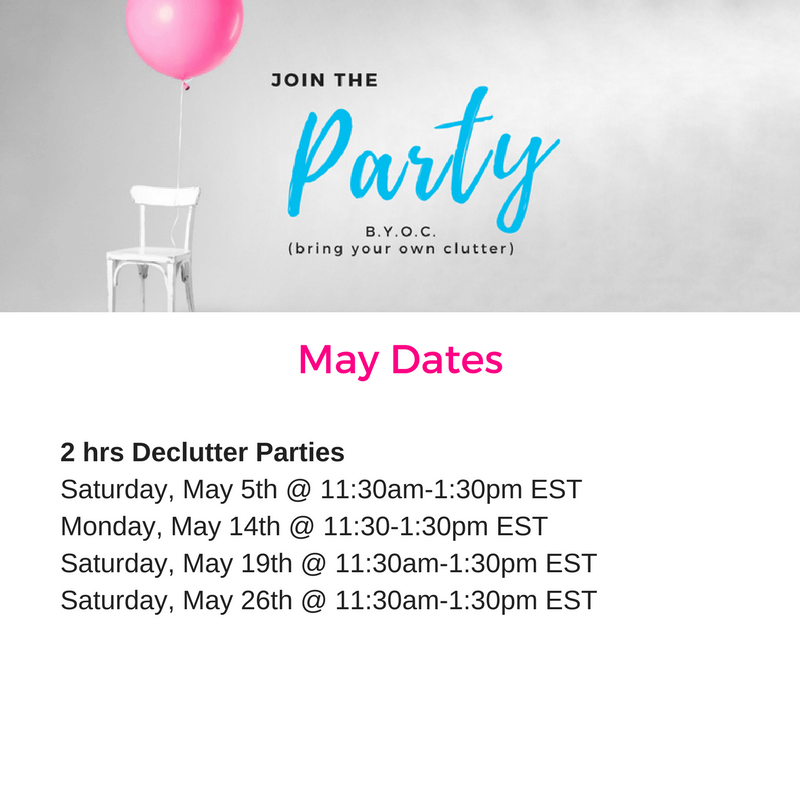 BYOC party, declutter, clutter, organize, bring your own clutter, party