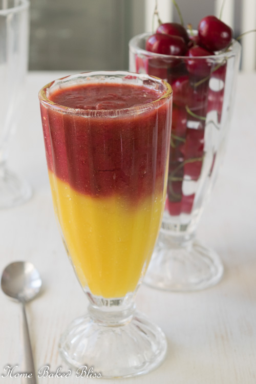 Mango Cherry Smoothie with two vibrant layers.