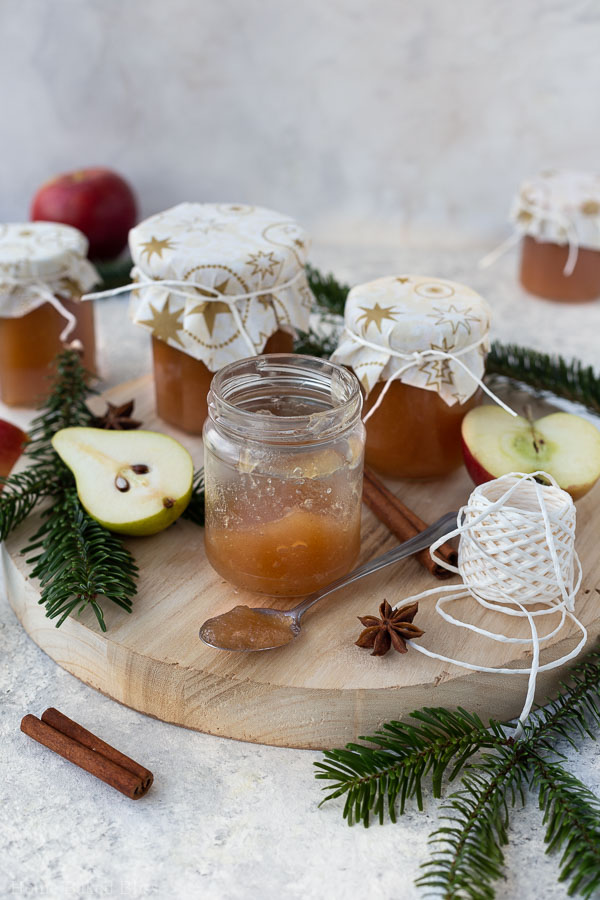 apple pear jam in Christmas decorated jars