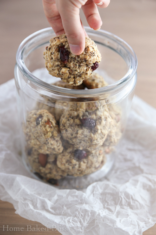 A cookie jar filled with breakfast cookies.