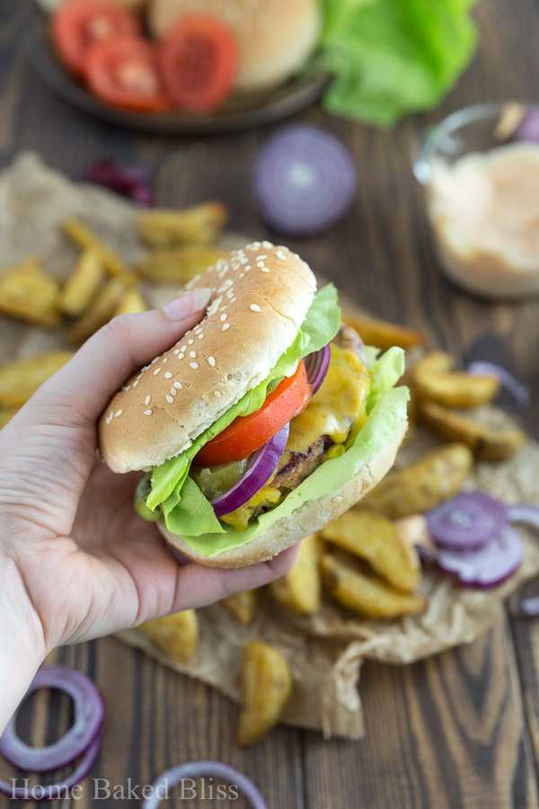 The best vegetarian burgers ever! Made with red bean patties and a homemade burger sauce.