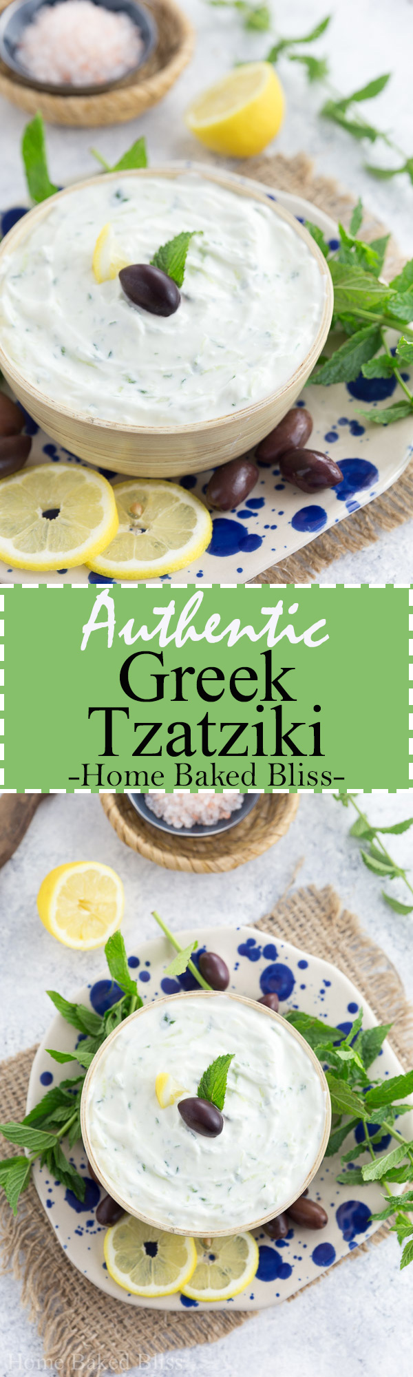 Easy homemade authentic Greek tzatziki. Perfect as a side dish for bbqs and parties. #tzatziki #Greek #bbq #cucumber | homebakedbliss.com