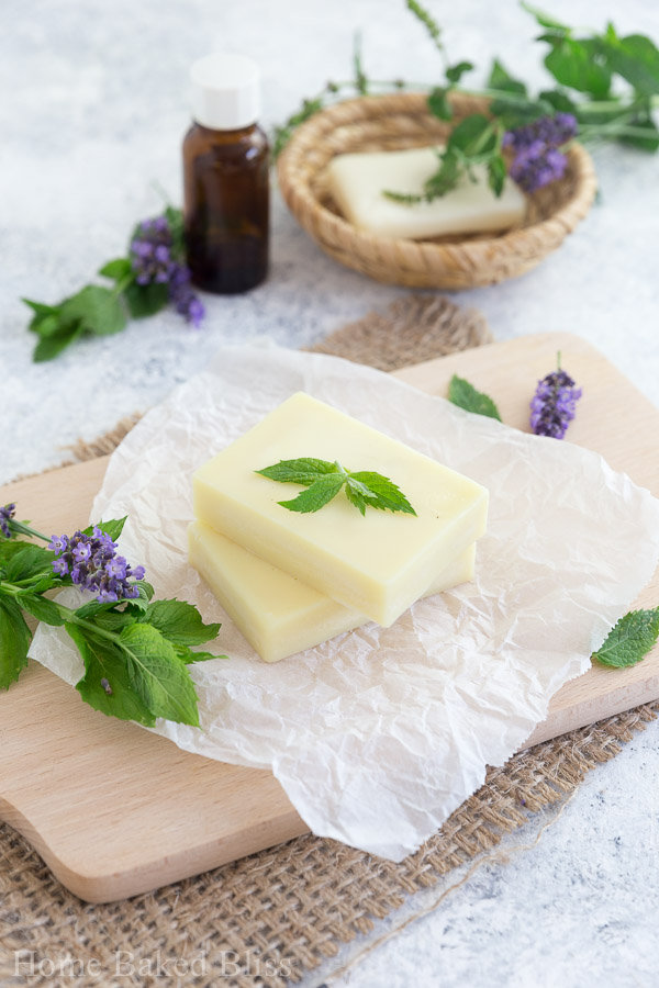 Peppermint Lotion Bars on wax paper decorated with fresh mint leaves.