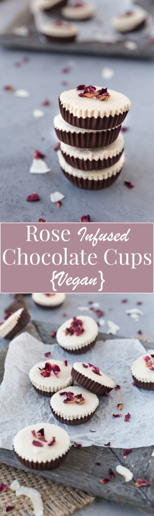 A little tower of vegan rose infused chocolate cups.