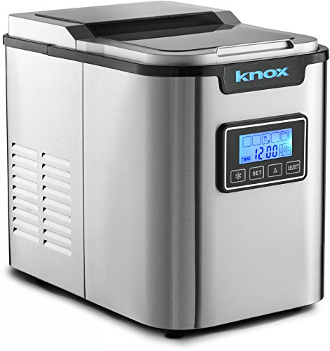 Knox Portable Ice Maker w/LCD Display - 2.8-Liter Water Reservoir, 3 Selectable Cube Sizes - Makes up to 27 Pounds of Ice Daily ,Stainless Steel
