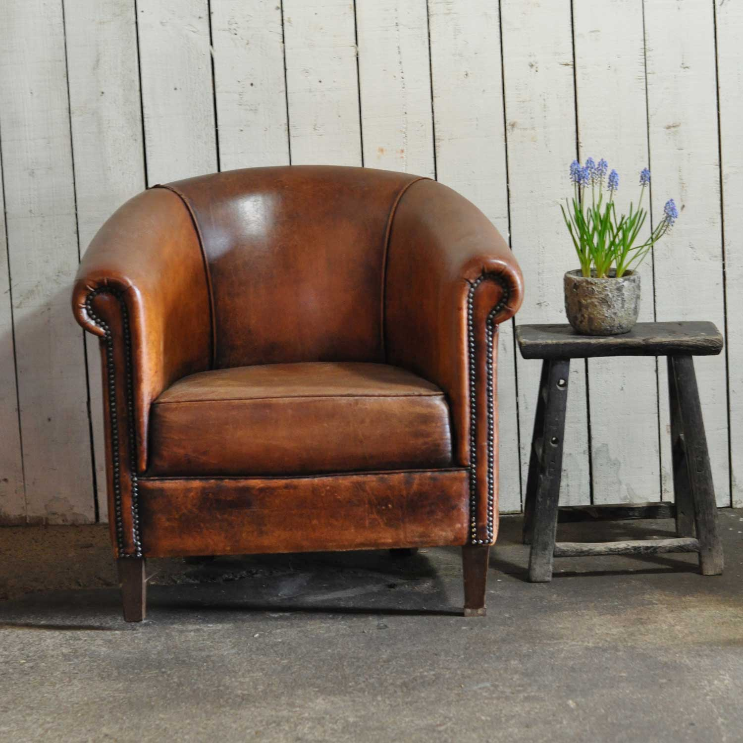 Club Chair Leather Vintage Worn French Leather Club Chair With Arms