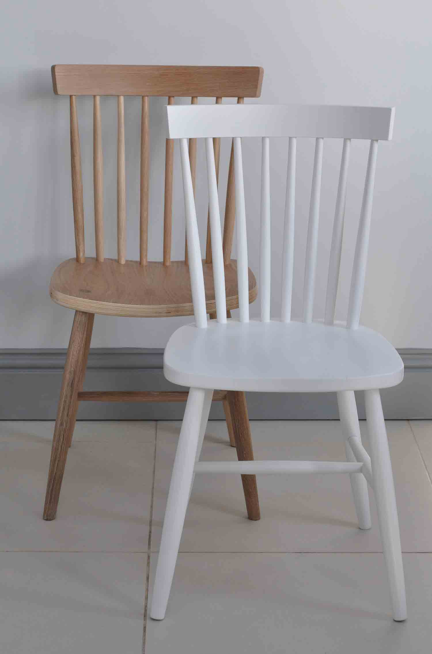 White Wooden Dining Chairs Oxford Spindle Back Dining Chair In White Painted Or Natural Oak
