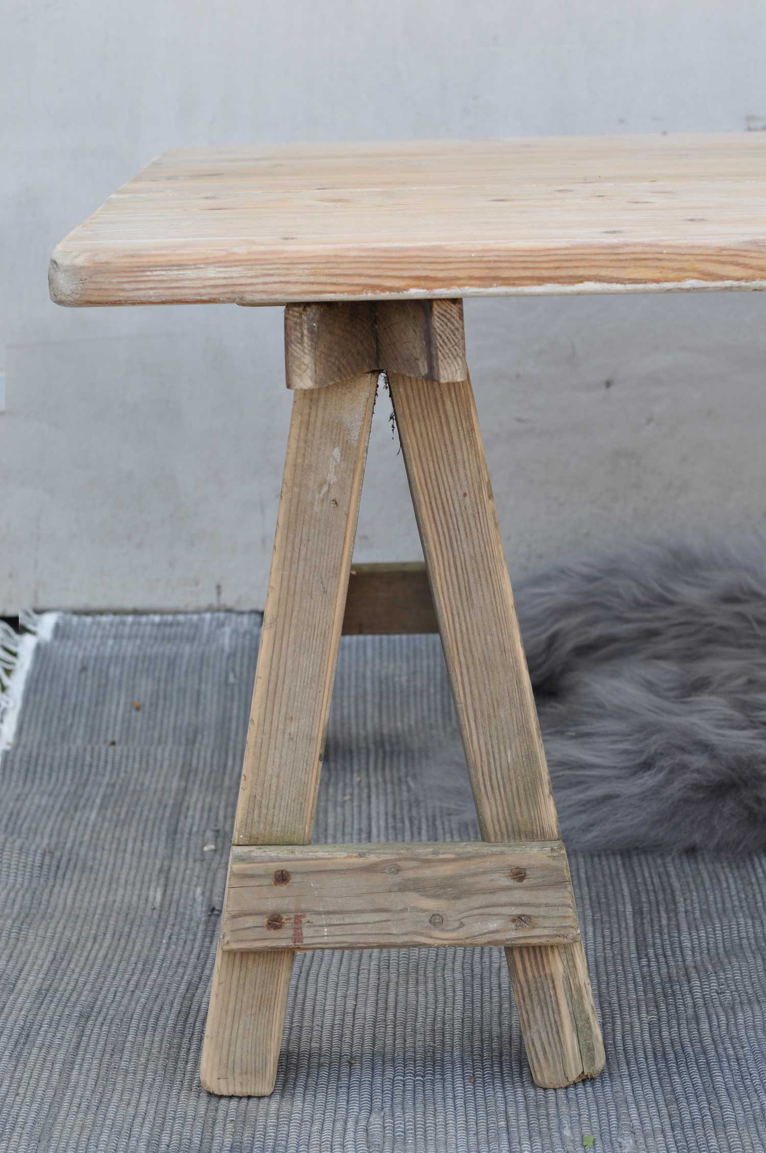 Reclaimed Wood Carpenter S Trestle Leg Coffee Table With