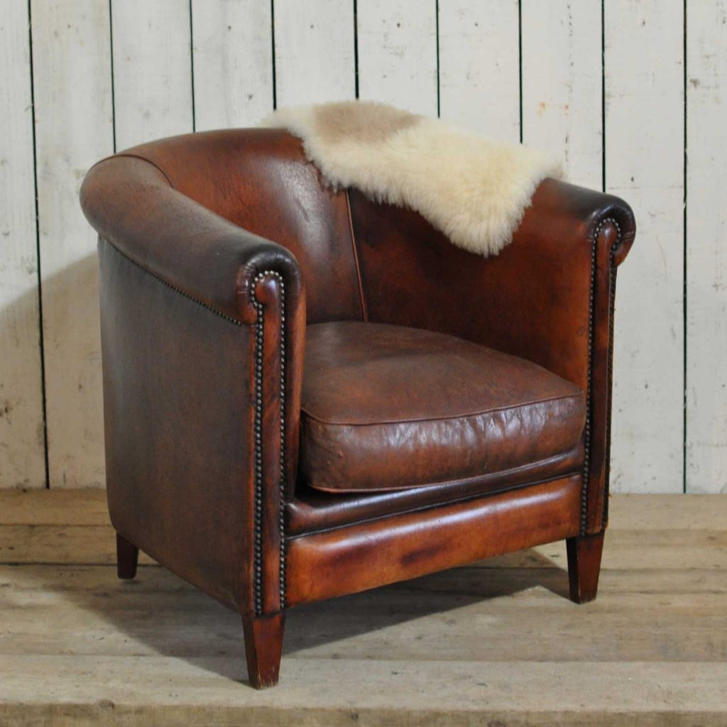 Leather Club Chair Vintage Worn French Leather Club Chair With Arms Home