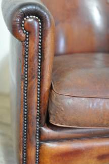 Vintage Worn French Leather Club Chair With Arms - Home