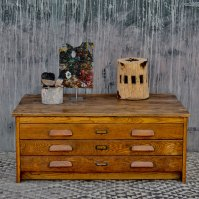 Vintage plan chest coffee table with oak drawers | Home Barn