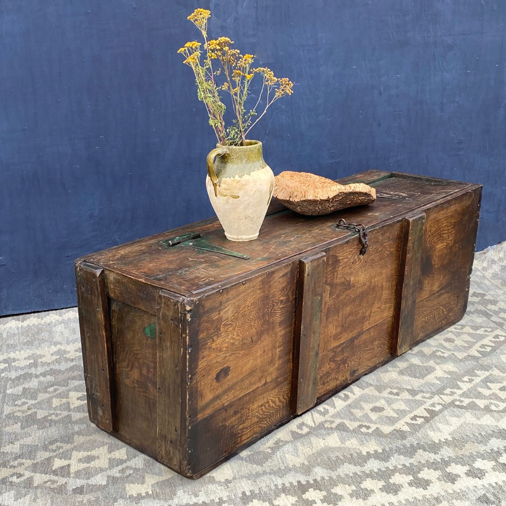 vintage rustic wooden grain trunk coffee table