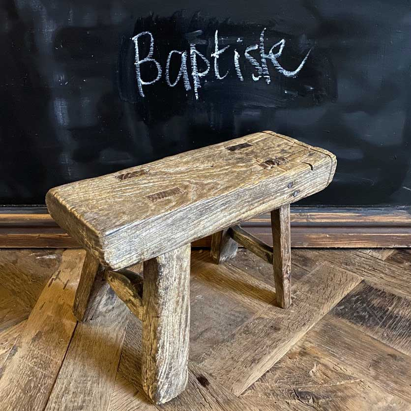antique rustic wood footstool selected measured