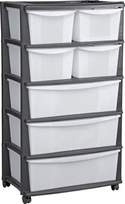 7 Drawer Plastic Wide Tower Storage Unit Black Oota