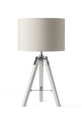White Wood Tripod Table Lamp