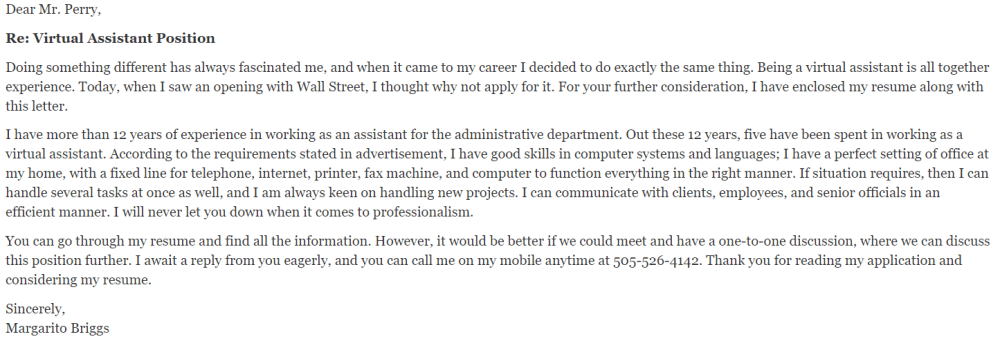 Virtual Assistant Cover Letter 3