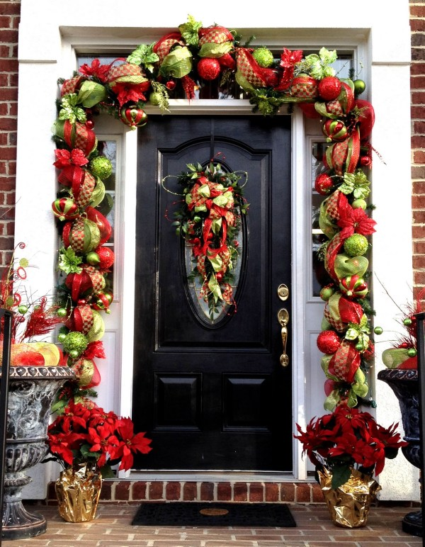 Front Door Christmas Deco Mesh Garland Ideas